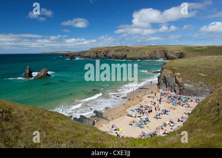 North Cornwall coast beach, Porthcothan, near Newquay, Cornwall, England - Stock Photo