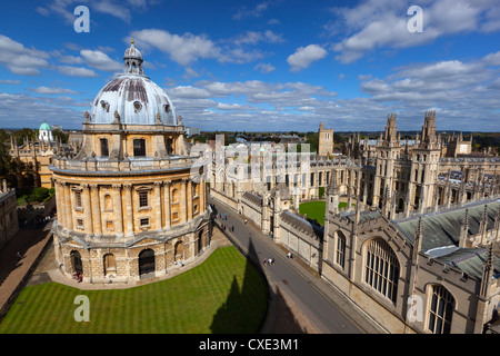 View over Radcliffe Camera and All Souls College, Oxford, Oxfordshire, England - Stock Photo