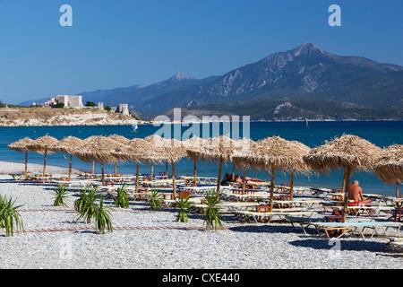 View over beach to Pythagorion castle, Potokaki, Samos, Aegean Islands, Greece - Stock Photo