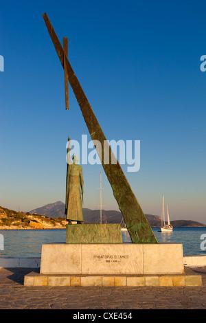 Statue of Pythagoras (Greek philosopher and mathematician), Pythagorion, Samos, Aegean Islands, Greece - Stock Photo