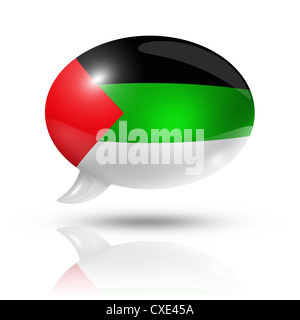 three dimensional Arabic language flag in a speech bubble isolated on white with clipping path - Stock Photo