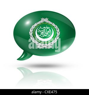 three dimensional Arab League flag in a speech bubble isolated on white with clipping path - Stock Photo