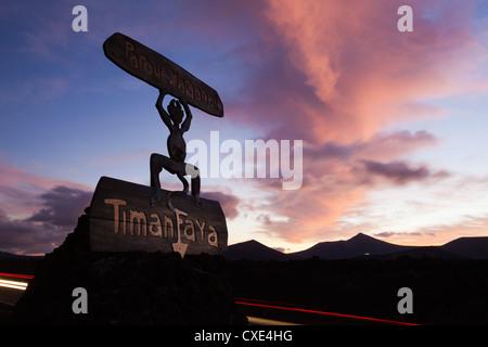 Devil logo and volcanoes, Parque Nacional de Timanfaya (Timanfaya National Park), near Yaiza, Lanzarote, Canary - Stock Photo