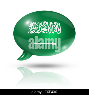 three dimensional Saudi Arabia flag in a speech bubble isolated on white with clipping path - Stock Photo