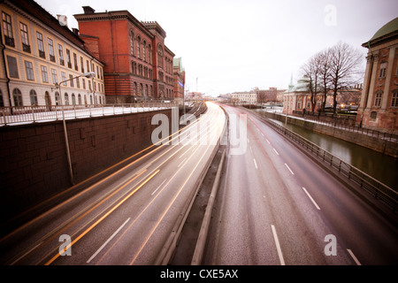 View over highway through Gamla Stan, Stockholm, Sweden, Scandinavia, Europe. - Stock Photo