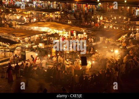 Food market in Djemaa el-Fna, Marrakech, Morocco, North Africa, Africa - Stock Photo