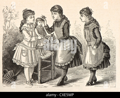three girls playing with a doll. vintage engraved illustration. 'La Mode Illustree' 1885, France, Paris - Stock Photo