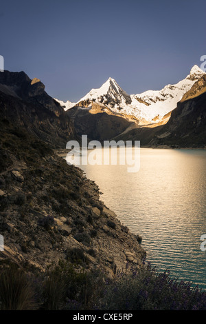 Laguna Paron, high in the Cordillera Blanca Peruvian Andes, Ancash, Peru, South America - Stock Photo