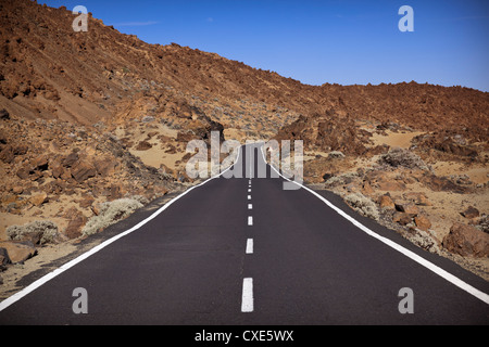 Road in El Teide National Park, UNESCO World Heritage Site, Tenerife, Canary Islands, Spain, Europe - Stock Photo