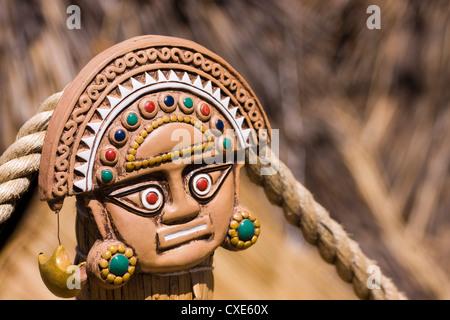 Traditional Inca decorative pottery, Lake Titicaca, Puno, Peru, South America - Stock Photo