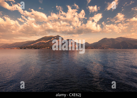 Lake Como viewed from Bellagio at dawn, Lombardy, Italy, Europe - Stock Photo