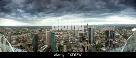 Panoramic view of Frankfurt am Main under stormy skies, looking southwest from the Maintower observation deck, Hesse, - Stock Photo