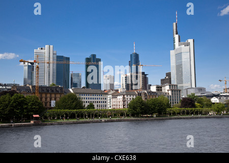 Frankfurt financial district skyline over the River Main, Frankfurt am Main, Hesse, Germany, Europe - Stock Photo