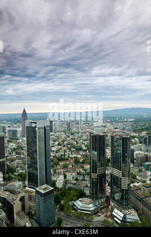Looking North from the Maintower observation deck over the city skyline, Frankfurt am Main, Hesse, Germany, Europe - Stock Photo