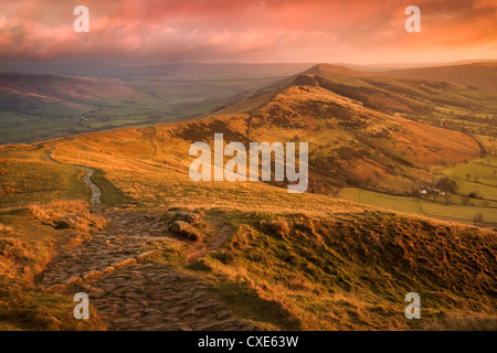 Sunrise light on The Great Ridge, Hope Valley, Peak District National Park, Derbyshire, England, United Kingdom, - Stock Photo