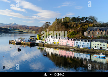 Looking down at the harbour of Portree, Isle of Skye, Inner Hebrides, Scotland - Stock Photo