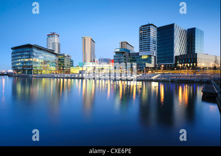 Dawn at MediaCity UK home of the BBC, Salford Quays, Manchester, Greater Manchester, England, United Kingdom, Europe - Stock Photo