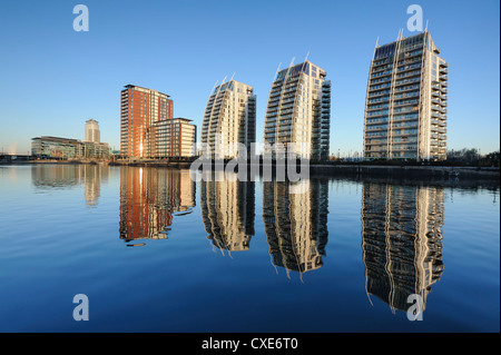 Modern apartments and MediaCity UK complex, Salford Quays, Manchester, Greater Manchester, England, United Kingdom, - Stock Photo
