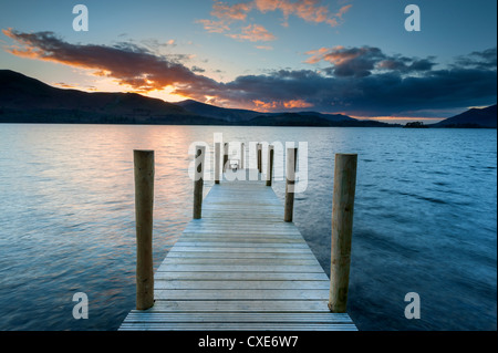 Sunset at Ashness Jetty, Barrow Bay, Derwent Water, Keswick, Lake District National Park, Cumbria, England - Stock Photo