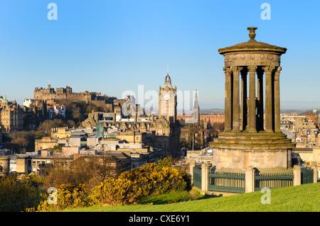 Edinburgh cityscape from Calton Hill, Edinburgh, Lothian, Scotland - Stock Photo