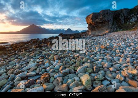 Sunset at Elgol Beach on Loch Scavaig, Cuillin Mountains, Isle of Skye, Scotland - Stock Photo