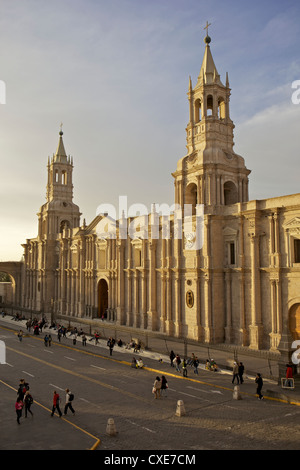 View of Arequipa Cathedral, Plaza de Armas, Arequipa, peru, South America - Stock Photo