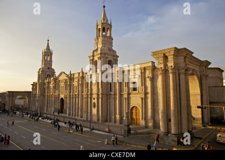 Arequipa Cathedral, Plaza de Armas, Arequipa, peru, South America - Stock Photo