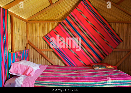 Bedroom, Uros Island, Islas Flotantes, floating islands, Lake Titicaca, peru, South America - Stock Photo