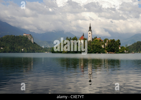 St. Mary of the Assumption church and Bled Castle, Bled Island, Lake Bled, slovenia, slovenian, europe, european - Stock Photo