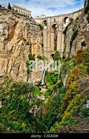Puente Nuevo (New Bridge) over the El Tajo gorge of the River Guadalevin, Ronda, Andalucia, Spain, Europe - Stock Photo