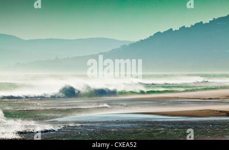 Storm force Levante winds, Strait of Gibraltar, Estrecho Natural Park, Los Lanses beach, Tarifa, Andalucia, Costa - Stock Photo