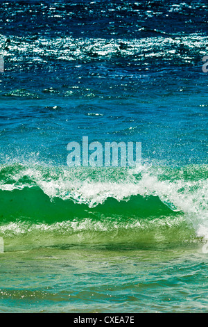 Small green wave, Strait of Gibraltar, Los Lances Beach, El Estrecho National Park Tarifa, Costa de la Luz, Andalucia, - Stock Photo
