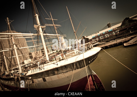 New York City - Aug 29:  Dark artistic image of tall ship at New York City South Street Seaport on August 29, 2012 - Stock Photo