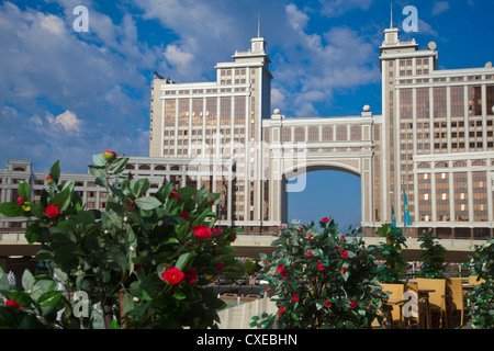 KazMunaiGas building home to the Oil and Gas Ministry, Astana, Kazakhstan, Central Asia, Asia - Stock Photo