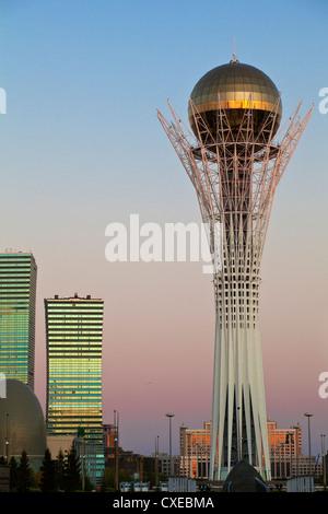 Bayterek Tower at dawn, Astana, Kazakhstan, Central Asia, Asia - Stock Photo