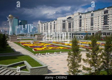 Nurzhol bulvar, central boulevard of Kazakhstan's new governmental and administrative zone, Astana, Kazakhstan, - Stock Photo