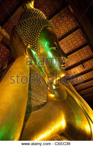 Reclining Golden Buddha in Wat Pho temple (Wat Phra Chetuphon), Bangkok, Thailand, Southeast Asia, Asia - Stock Photo
