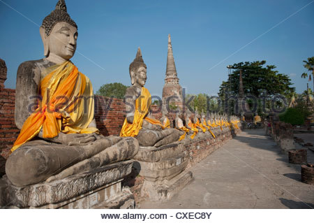 Old Buddha Statue in Wat Yai Chaimongkol Temple, Ayutthaya, UNESCO World Heritage Site, Thailand, Southeast Asia, - Stock Photo