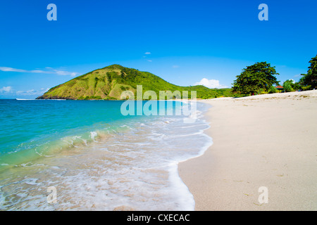 White sandy Mawun Beach, South Lombok, Indonesia, Southeast Asia, Asia - Stock Photo