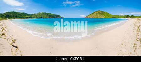 Mawun Beach, South Lombok, a panorama showing the whole half moon bay, Indonesia, Southeast Asia, Asia - Stock Photo