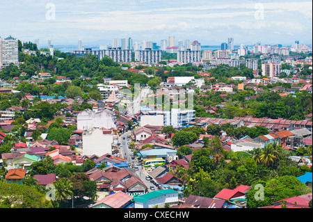 Aerial view over Georgetown from Kek Lok Si Temple, Penang, Malaysia, Southeast Asia, Asia - Stock Photo