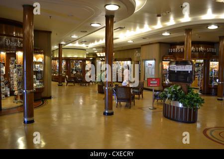 The shopping arcade aboard the RMS Queen Mary, Long Beach, California - Stock Photo