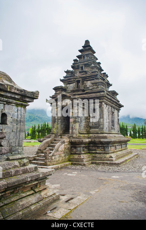 Temple at Candi Arjuna Hindu Temple Complex, Dieng Plateau, Central Java, Indonesia, Southeast Asia, Asia - Stock Photo