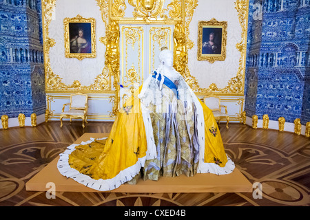 Catherine Palace the Rococo summer residence of the Russian tsars located in the town of Tsarskoye Selo (Pushkin) - Stock Photo