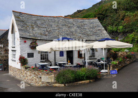North Cornwall - Boscastle village - the Harbour Light cafe - completely rebuilt after the  August 2004 flood - Stock Photo