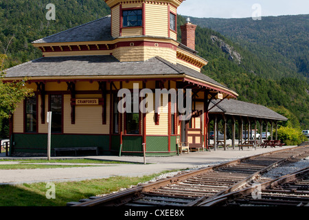 Crawford Notch train station New Hampshire USA America New England. - Stock Photo