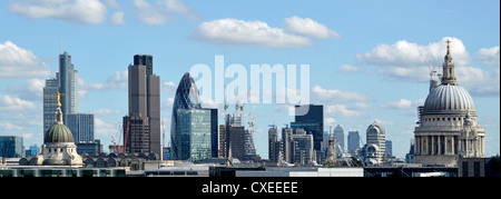Panoramic urban landscape City of London skyline buildings including Tower 42, Gherkin, Lloyds, Canary Wharf distant, - Stock Photo
