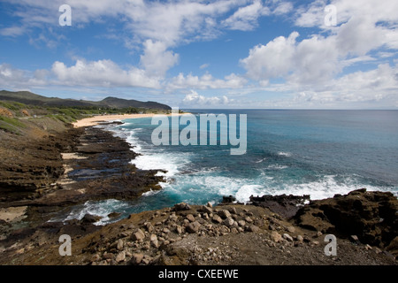 View from Halona towards Sandy Beach Park on the southern coast of Oahu, Hawaii. - Stock Photo