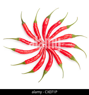 sun from chili peppers isolated on white - Stock Photo