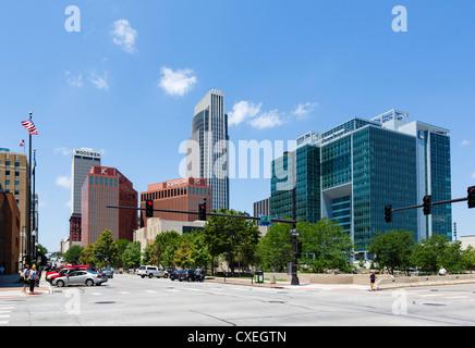 The city skyline from 13th and Farnam Streets, Omaha, Nebraska, USA - Stock Photo
